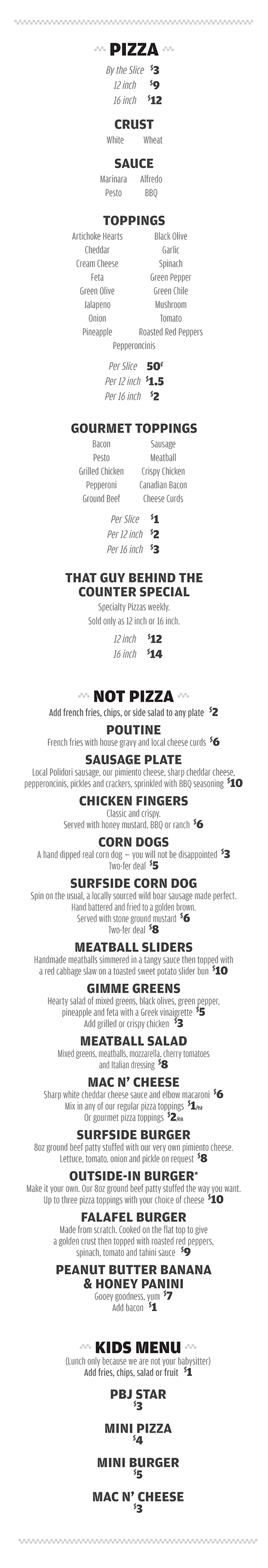 Eat at the Surfside 7 • Check out our restaurant menu